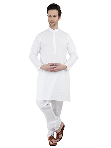 (SKAVIJ Men's Cotton Kurta Pajama Set Evening Wear Dress (Large, White))