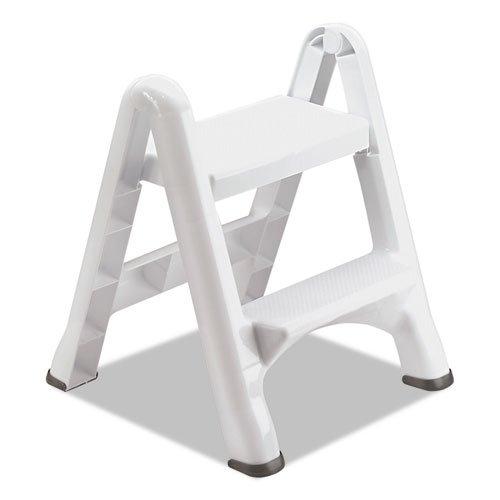 EZ Step Two-Step Folding Stool, 19 1/2 x 20 3/5 x 22 7/10, White, 3/Carton