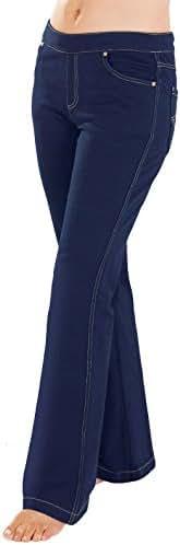 PajamaJeans Women's Bootcut Stretch Knit Denim Jeans in Dark Blue Indigo