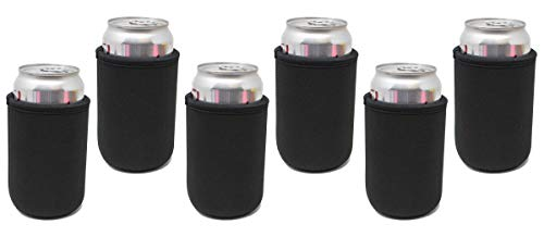 TahoeBay 6 Premium Can Sleeves - 5mm Thick Neoprene Beer Coolies for Cans - Blank Drink Coolers (Black, 6)