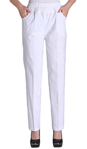 White Cotton Pants - Soojun Womens Summer Elastic Waist Comfy Stretch Pull On Pants, White, Large