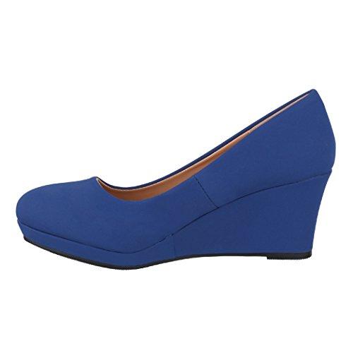 Escarpins Blau Élégant Compensé Talon Elara Neu Femmes PqXTwtwx5