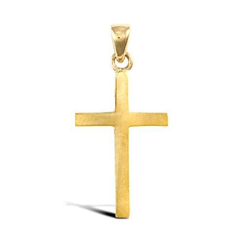 Jewelco Londres 18K or massif jaune simple croix pendentif