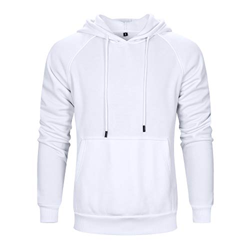 TOLOER Men's Hoodies Pullover Slim Fit Solid Color Sports Outwear Sweatshirts White Medium ()