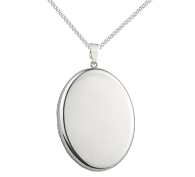 Sterling Silver Locket Necklace on Silver chain - Large Oval Locket - Size: 34mm x 22mm - weight: 6.7gms. 8002. Gift Boxed. kU3qIX