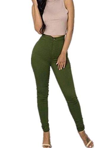 Sky Mujeres Denim Jeans Chica Casual Pantalones Vaqueros Cintura los Pantalones del lápiz del Estiramiento (S, Verde)