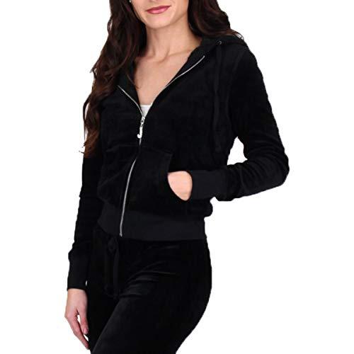 (Juicy Couture Black Label Crown Robertson Womens Velour Jacket Black Size L)