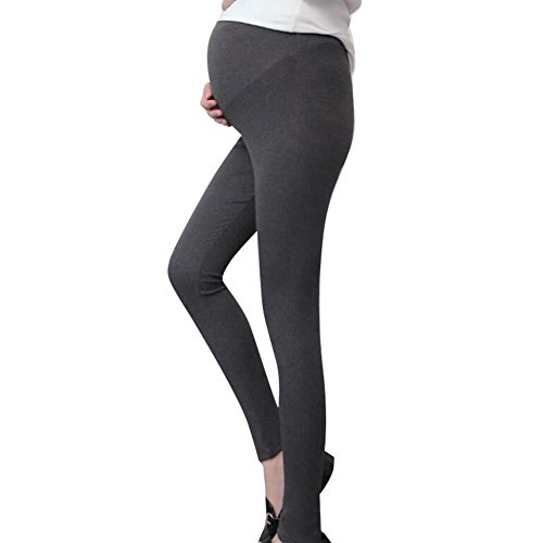 Highdas Embarazada Delgada Slim Leggings Pies Pantalones Gris oscuro