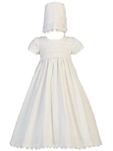 Baby Girl White Cotton Smocked Gown Christening Baptism Hat Set L (12-18 Month)