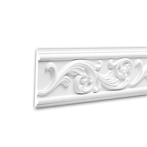 Panel Moulding 151325 Profhome Dado Rail Decorative Moulding Frieze Moulding Rococo Baroque Style White 2 m ()