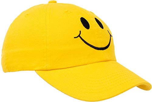 Cap Face Happy (Ann Arbor T-shirt Co. Smiley Face Hat | Cute Happy Mom Dad Teacher Yellow Baseball Cap for Men Women)