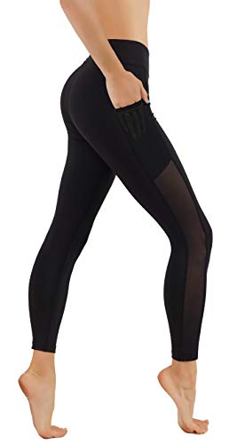CodeFit Yoga Pants Dry-Fit Cut Out Mesh Panels in Both Side with Pockets 7/8 Length Running Leggings (S USA 2-4, CF56-BLK)