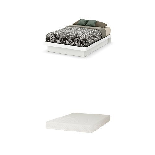 South Shore Basic Full-Size Platform Bed (54'') with Moldings, Pure White, and Somea Full Mattress Included by South Shore