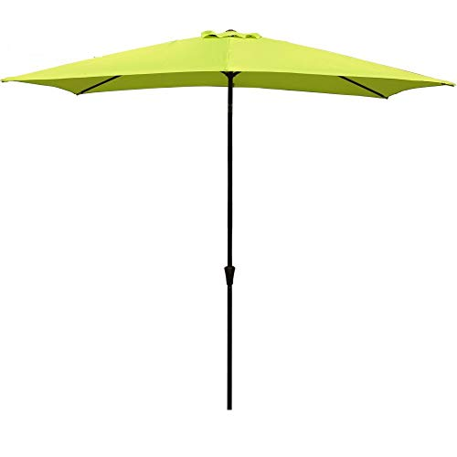 COBANA Rectangular Patio Umbrella, Outdoor Table Market Umbrella with Push Button Tilt/Crank, 6.6' by9.8', Lime Green (Green Umbrella Lime)