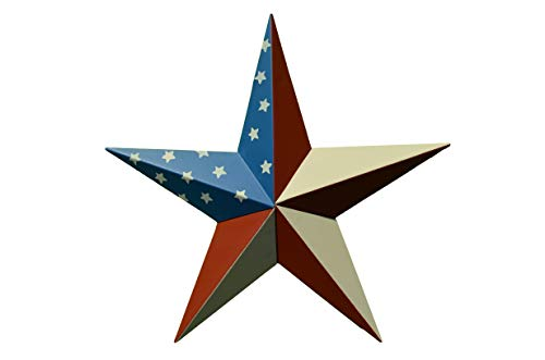 AMISH WARES 24 Inch Solid American Americana Flag Barn Star Made with Galvanized Metal to Prevent Rusting. American Handcrafted - Made in The USA! ()