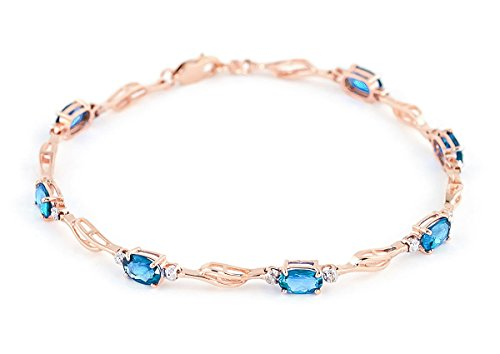 QP joailliers naturel & Diamant Topaze bleue Bracelet en or rose 9carats, 3,38CT Coupe ovale-4278r