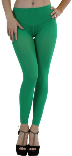 ToBeInStyle Women's Leggings Ankle Long Elastic Tights - One Size - Kelly Green ()