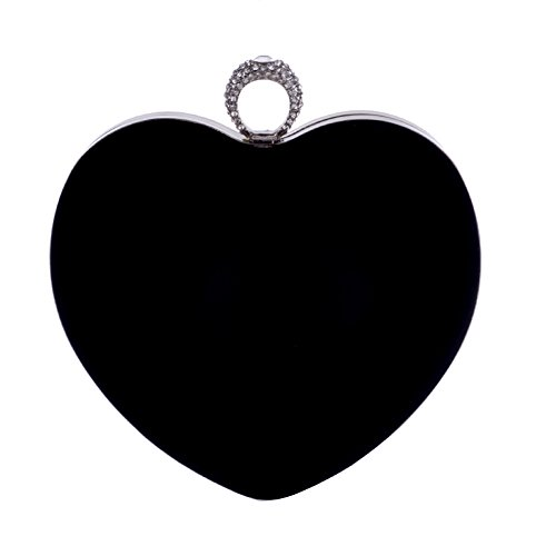 Yealize Women's Heart Shaped Clutch Purse Velvet Evening bag Solid Color Handbag the Valentine's Day -