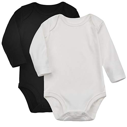 de70b96c3 Aablexema Unisex Baby Long-Sleeve Bodysuits, 100% Cotton Infant Toddler  Solid Onesies for