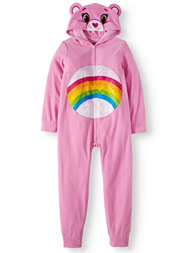 Care Bears Girls' Poly 1-Piece Hooded Footless Sleeper (Pink, X-Small 4/5) -
