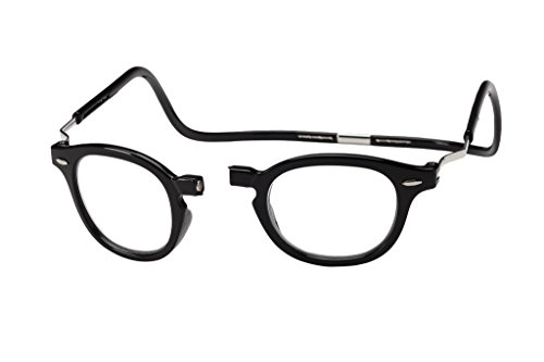 Clic Magnetic XXL Vintage Oval Reading Glasses in Black ; +2.00