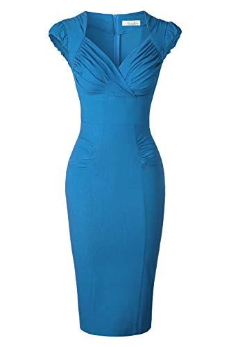 (Newdow Lady's 50s Vintage V-Neck Capsleeve Pencil Dress (X-Large, Color Blue))
