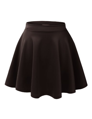 MBJ WB211 Womens Basic Versatile Stretchy Flared Skater Skirt S BROWN (Brown Pleated Skirt)