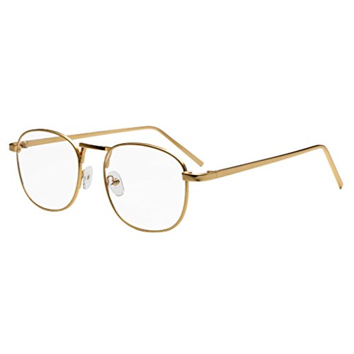 Simvey Unisex Classic Retro Vintage Small Square Clear Lens Eyeglasses Gold Metal Glasses - Gold Glasses Vintage