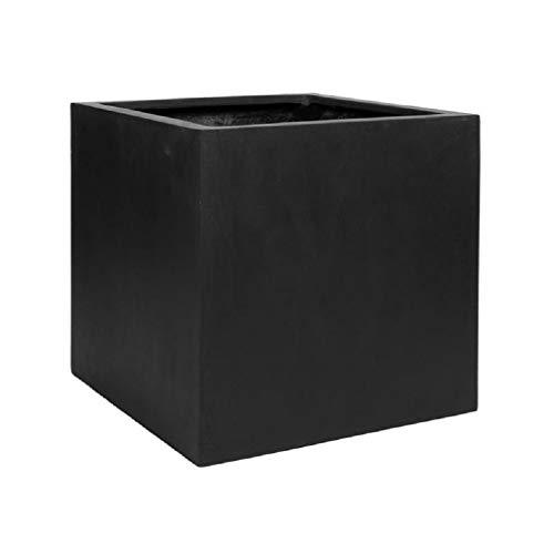 Black Square Planter Box – Elegant Fiberstone Cube Planter Pot – Outer Size 16x16x16