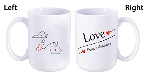 Love From A Distance Virginia State, Iowa State (VA - IA) - Mother's Day, Birthday, Anniversary Gift Ideas For Family, Him, Her. Two State Map Mug 15 oz