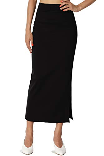 TheMogan Women's Side Slit Ponte Knit High Waist Mid-Calf Pencil Skirt Black 3XL