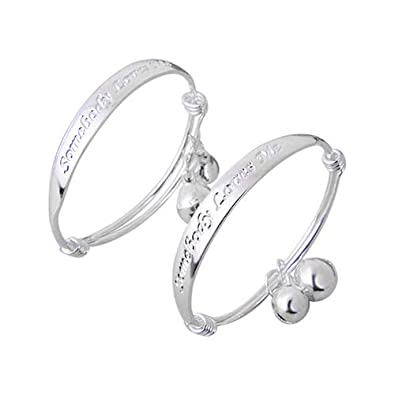 d9e7ba3504909 kafiGC8 2pcs English Letter Silver Plated Bell Bangle Bracelet for Baby Kid  New Jewelry Gift