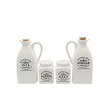 HOAEY Porcelain Oil and Vinegar Dispenser Set - Salt and Pepper Shaker Set - (Set of 4) - (No Spices included)