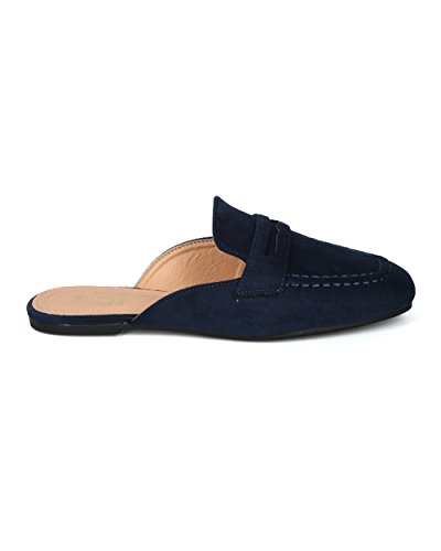 Suede Mule Loafer Women Betani HG74 Faux Suede Collection Faux on Alrisco Flat Slip by Navy 160qwUw