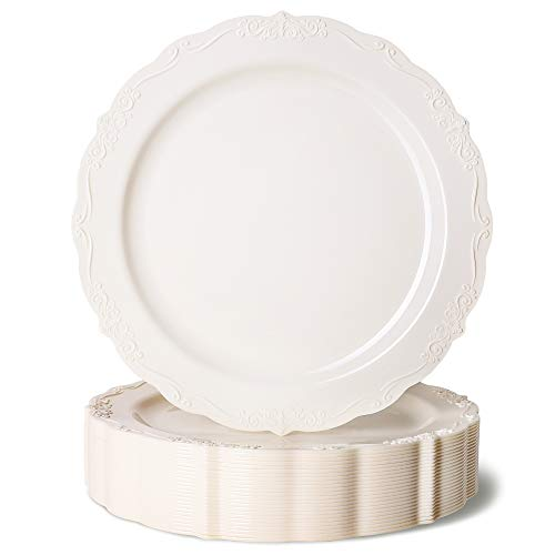 Juvale 25-Pack Elegant Vintage Plastic Appetizer or Dessert Plates for Birthday, Bridal Shower, and Wedding Party Supplies, Cream with Fine Detailing, 7.5 Inches