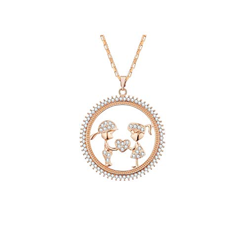 - salmoph cadia Round Woman Necklace Boy Girl Love Crystal Pendant Necklaces Long Sweater Chain,Kc Gold
