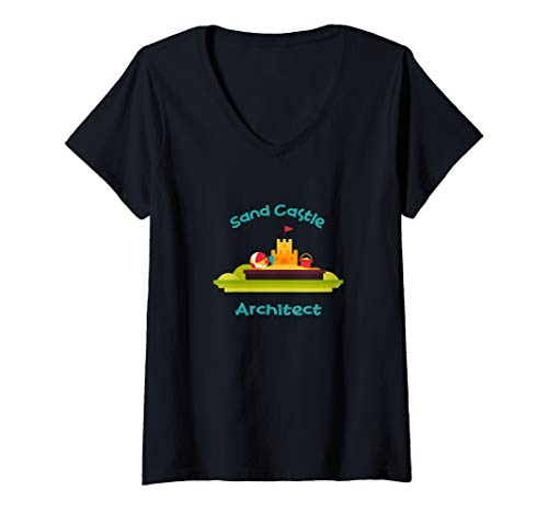 (Womens Funny Sand Castle Architect Beach Artist V-Neck T-Shirt)