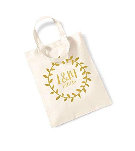 Bridal Monogram Wreath - Small Canvas Fun Slogan Tote Bag Natural/Gold