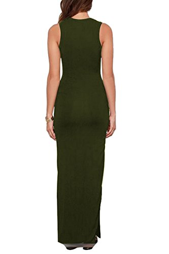 Green Bodycon Army Maxi High Meenew with Sleeveless Women's Pockets Dress Split Long qx74Pawv