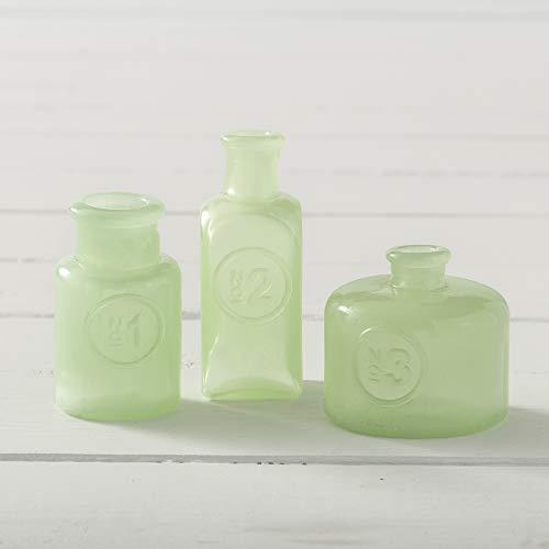 J.C. and Rollie Mini Mint Milk Glass Vases (Asst. Set of 3)