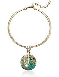 Women's Mosaic Circle Pendant Sculptural Necklace, Blue Mop, One Size