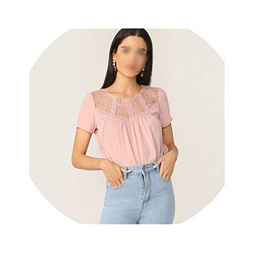 (Pink Lace Yoke Gathered Detail Top Solid Mesh Sheer Blouse Women Summer Short Sleeve O-Neck Casual Office,M)