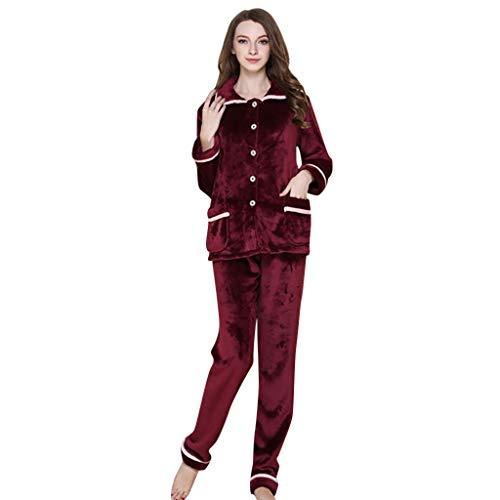 Simayixx Sleepwear for Women, Ladies Girls 2 Piece Coral Fleece Pajamas Robe Soft Slim Fit Button Thermal Sleepwear Set