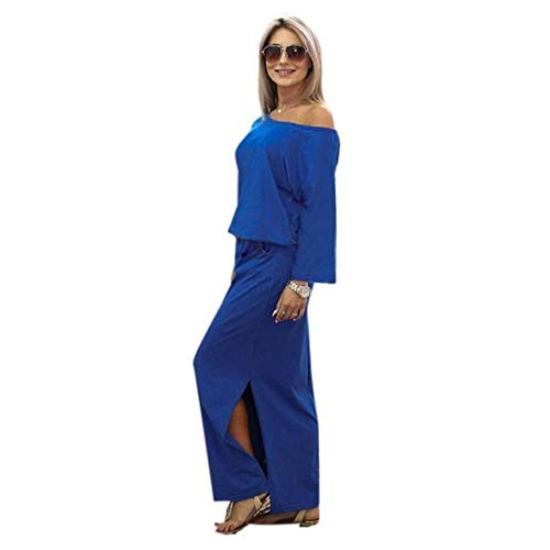 Women's Casual 3/4 Sleeve Solid Maxi Slit Long Dress with Elastic Waistband Pocket Blue