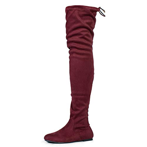 RF ROOM OF FASHION Women's's Faux Suede Fitted Flat to Low Heel Over The Knee High Boots Wine/Burgundy (6.5)
