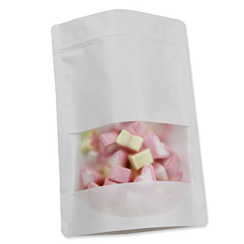 (100pcs Kraft Ziplock Paper Bag Stand Up Food Pouches Resealable Food Bags Zip Lock Stand Up Pouch With Matte Window Small Size For Tea Seeds Candy Spice And Nuts (Sample Packets 20x30cm (7.9x11.8