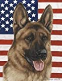 "German Shepherd by Tamara Burnett Patriotic II Garden Dog Breed Flag 12"" x 17″ For Sale"