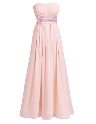 iEFiEL Vestido Largo sin Tirantes de Noche Boda para Mujer Chica Espalda al Aire Rosa de Perla