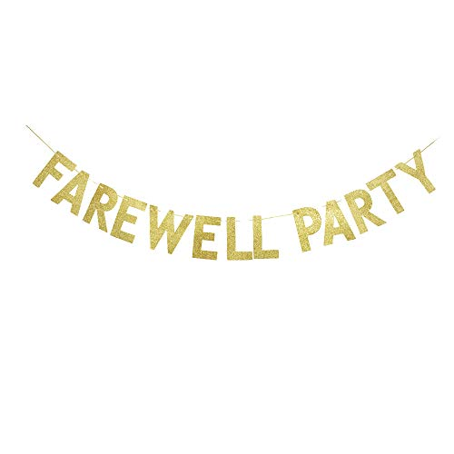 Farewell Party Banner, Graduation/Farewell/Moving/Job Change Party Decorations Shiny Gold Gliter Paper Sign Photoprops (Good Luck Best Wishes)
