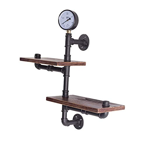 XIAOYAN Shelves Iron + Wooden Wall Hanging Shelf, Antique Industrial Pipe Shelf for Wall Decoration-632060cm/872030cm (Size : A-001)